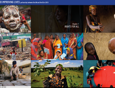 Homepage for design for the new UN-EU report.